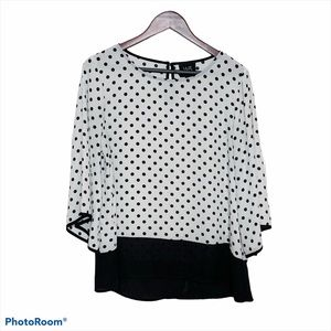 White Black Polka Dot Wide Sleeve Blouse Large